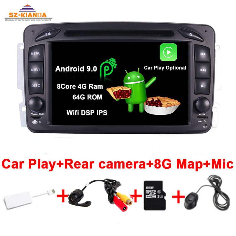 <font><b>Car</b></font> Play Android 9.0 <font><b>Car</b></font> DVD Player For <font><b>Mercedes</b></font> Benz CLK W209 W203 W463 <font><b>W208</b></font> Wifi 3G <font><b>GPS</b></font> Bluetooth <font><b>Radio</b></font> Stereo <font><b>car</b></font> multimedia image