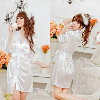 Sexy Lingerie Women Robes Silk Satin Deep V Bathrobe Pajamas Robe Sleepwear Lace Nightwear Lace-up B