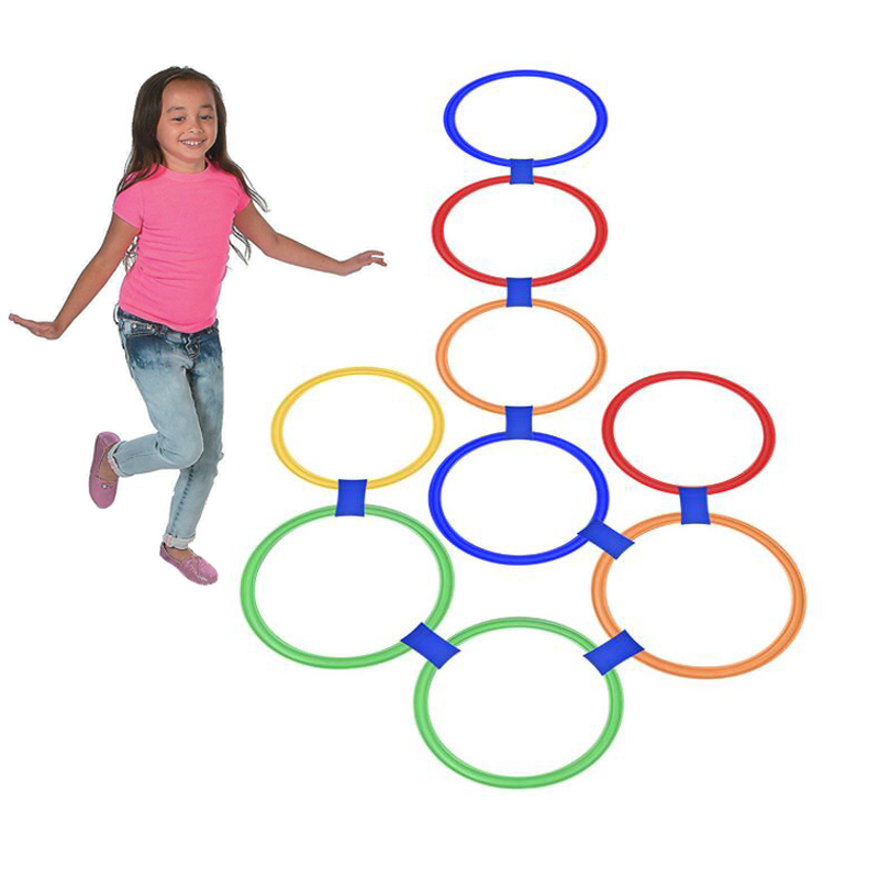 10Pcs Hopscotch Rings Hoops Play Lattice Jump Sensory Fun Backyard Garden Games For Kids Outdoor Toys Sport Children