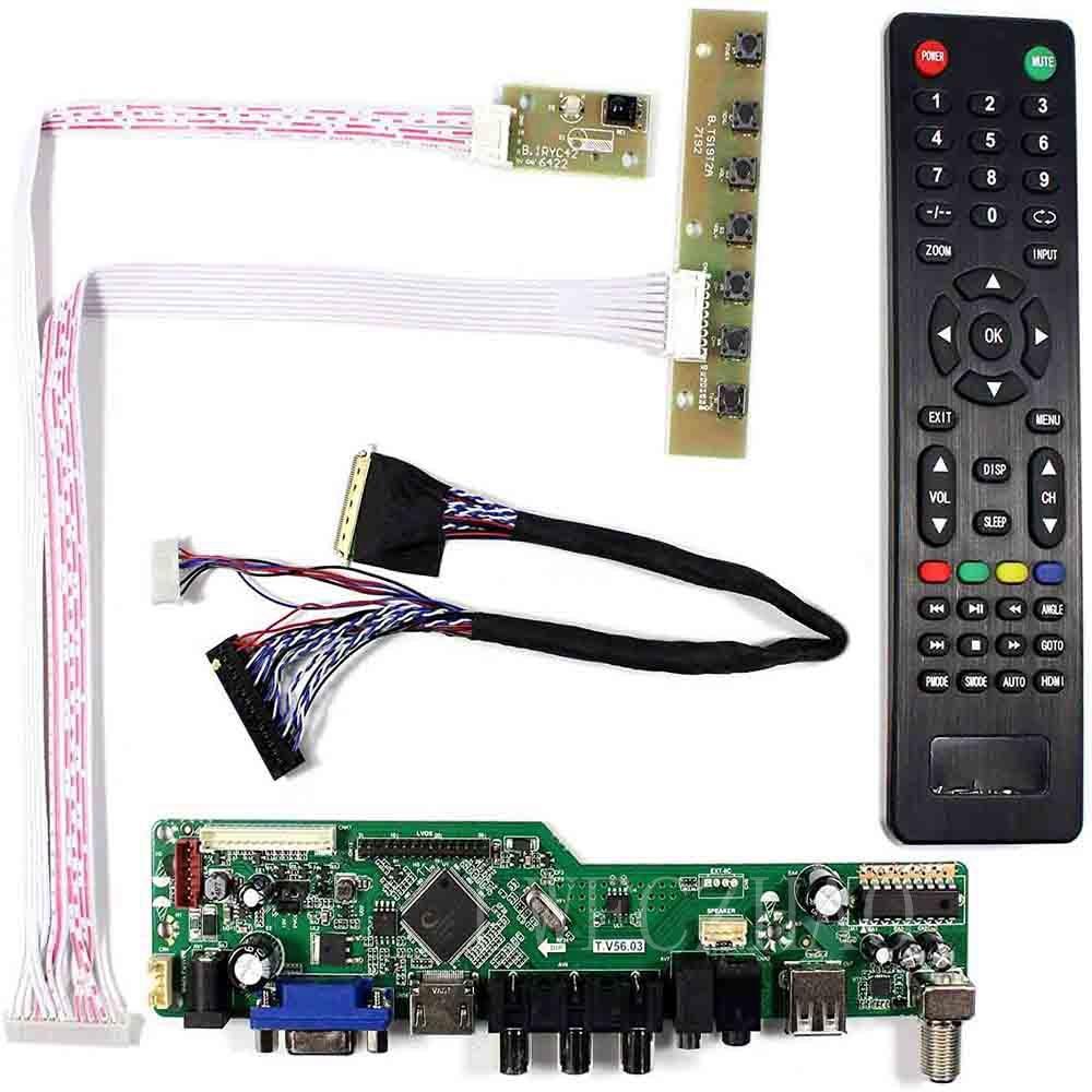 Novo kit tv56 para ltn173kt01 lp173wd1 b173rw01 tv +-hdmi + vga + av + usb lcd led placa controlador de tela driver