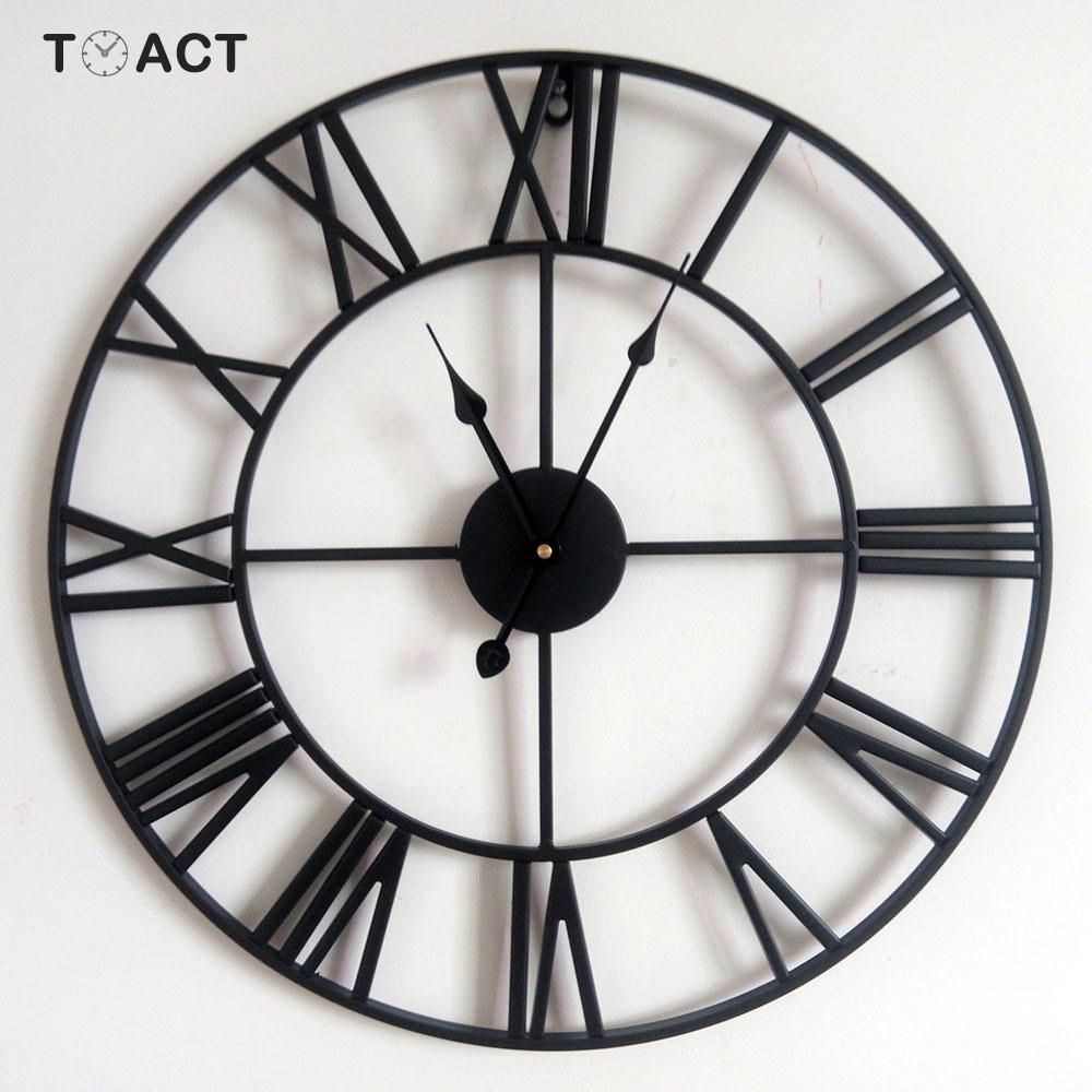 Black 40cm//60cm//80cm Metal Round Wall Clock Roman Numerals Home Office Decor US