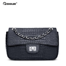 ZOOLER Luxury Genuine Leather Woman Bags 2019 Classic Cow Shoulder Black Small Messenger Bag Ladies chains #ZF200