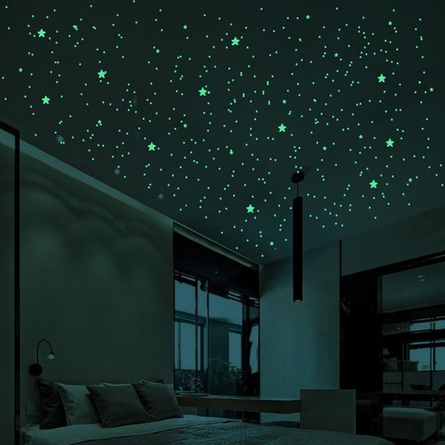 211/202pcs Luminous 3D Stars Dots Wall Sticker Kids Room Bedroom Home Decoration Decal Glow In The Dark DIY Stickers 2