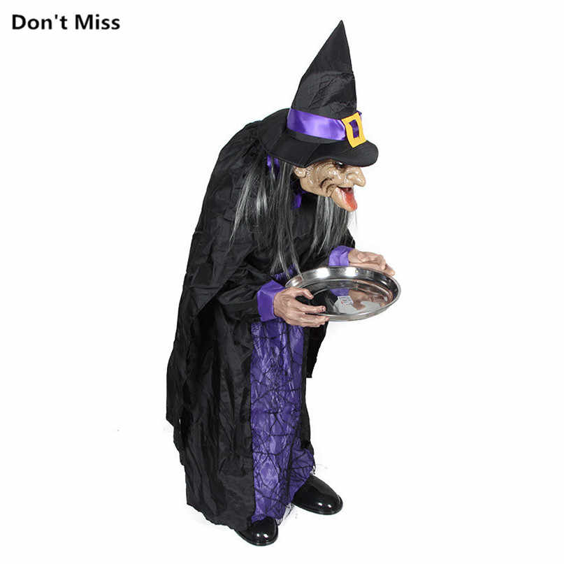 Men/women Housekeeper Ghost Electric Haunted Witch Touch It Glow Scary Eyes  Make Creepy Sounds Halloween Decoration Horror House