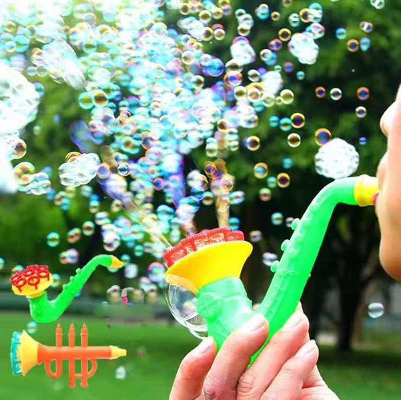 Children Water Blowing Toys Outdoor Fun Sport Soap Blowing Bubble Horn No Liquild Concentrate Stick Tray Kids Toys Kits DS29