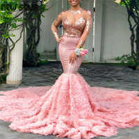 Bling Rosa 3D Blume Dubai Prom Kleider Für Saudi-arabien 2020 Vestidos Formale Abendkleid Pailletten Nahen Osten Party Kleid aibye