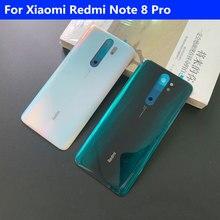 Original caso de vidro do telefone habitação bateria capa para xiaomi redmi nota 8 pro peças reposição bateria volta capa porta frete grátis