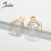 Joolim 3 Circles Earrings Gold Alloy