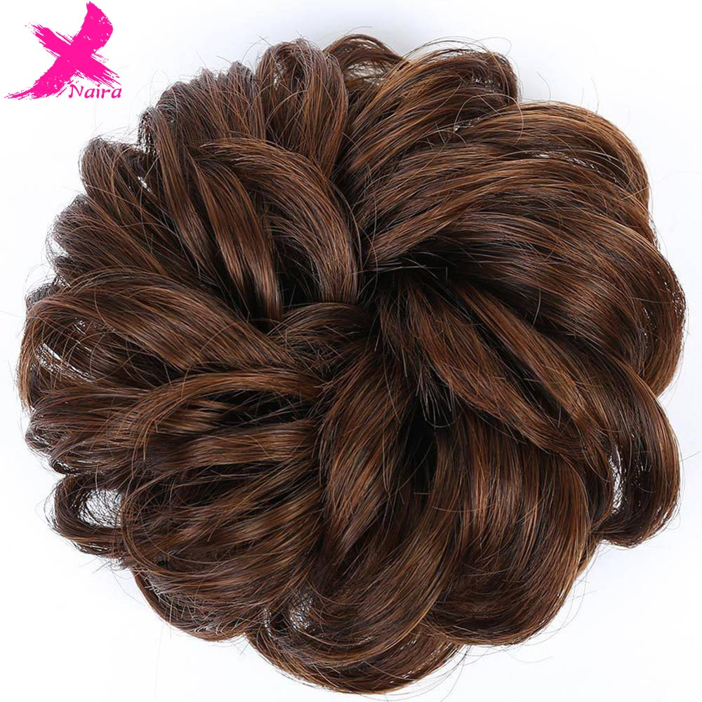 Xnaira Hair Short Tail Chignons Hair Heat Resistant Synthetic Hair Rope Natural Fake Hair Bun Curly Clip In Hair Extensions