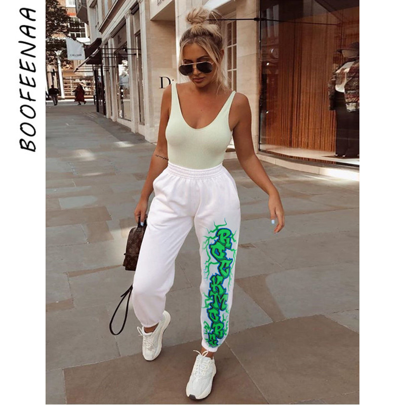 BOOFEENAA Letter Print White Trousers Casual Sweatpants Women Bottoms Joggers Elastic High Waist Pants Ropa Mujer C67-AF73