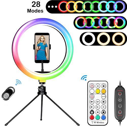 Δαχτυλίδι led φως rgb με βάση κινητού και χειριστήριο για streaming