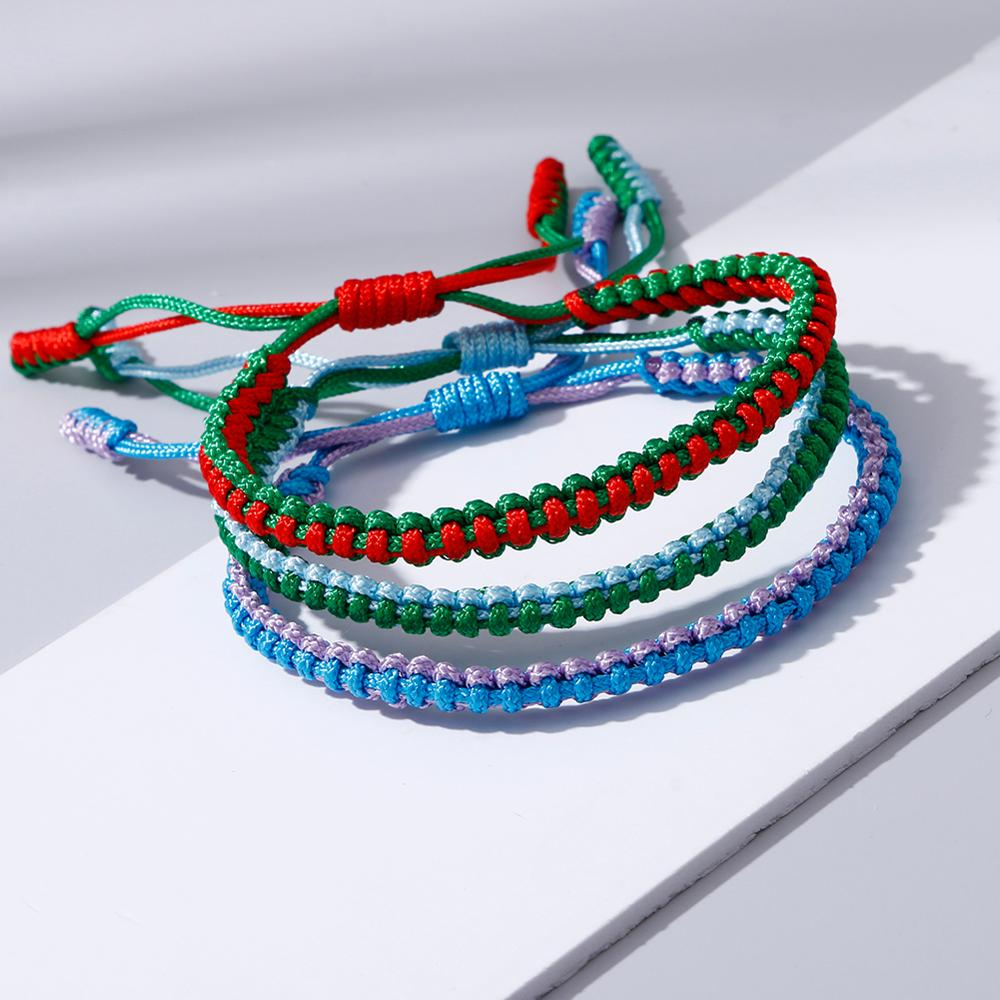 20 Colors Thread Braided Bracelet Women Men Tibetan Buddhist Adjustable String Bracelets & Bangles Handmade Rope Ethnic Jewelry