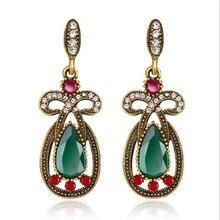 new retro teardrop crystal earrings for women personality green red black earrings statement vintage jewelry gifts pair of delicate flower decorated black teardrop pendant earrings for women