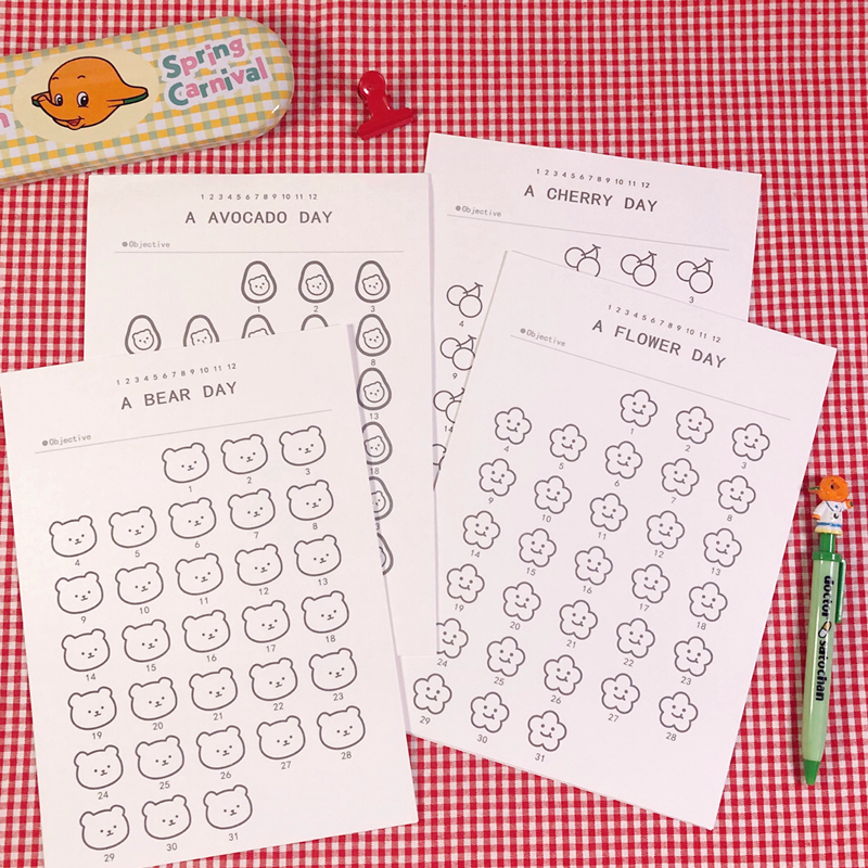 12Pc/set Ins Cartoon Cute Little Bear Fruit Plan Paper Student Concise Time Management 365 Days Fill In Graffiti Stationery