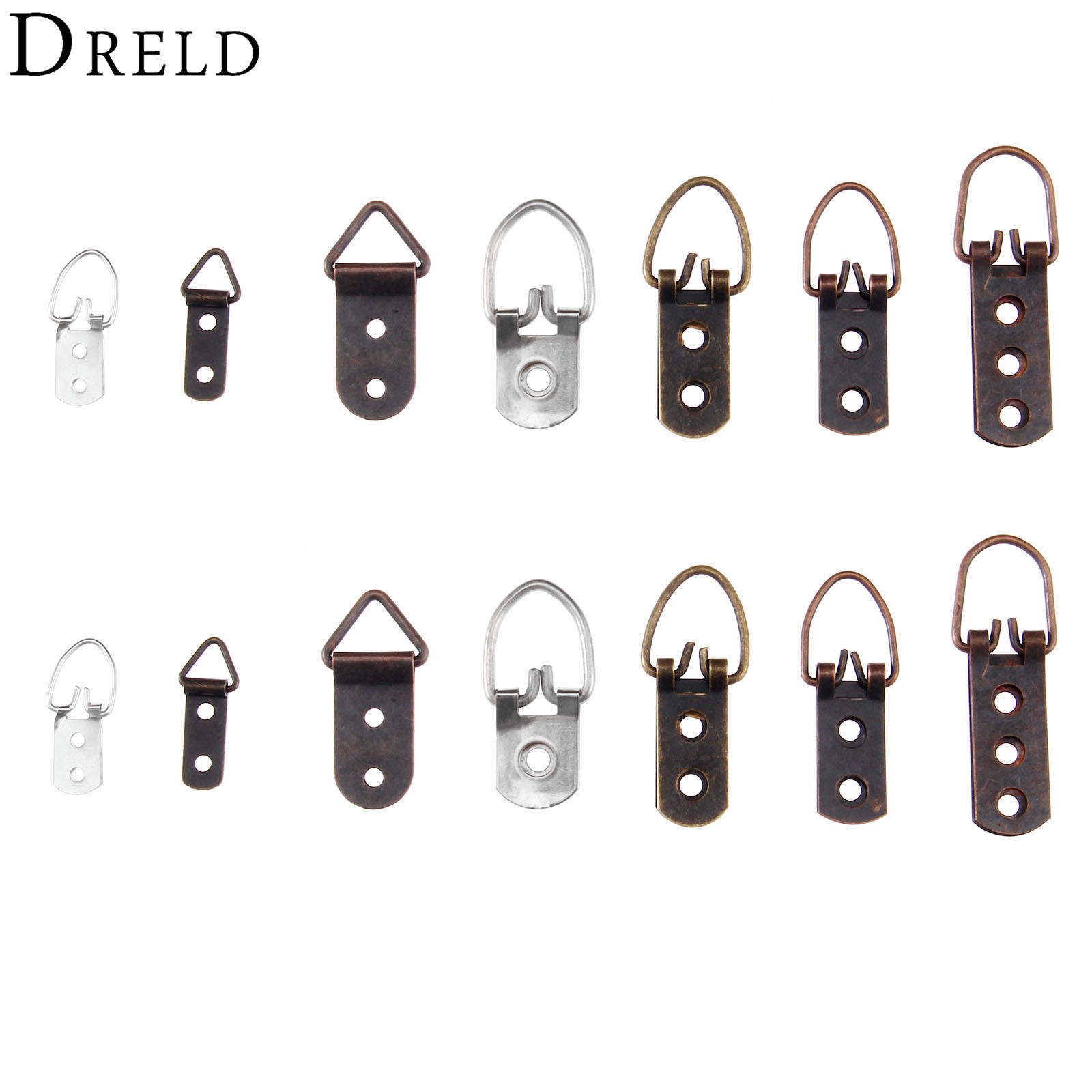 DRELD 5/20Pcs Zinc Alloy D-Ring Hanging Picture Photo Oil Painting Mirror Frame Hooks Hanger with Screws Bronze/Silver Tone