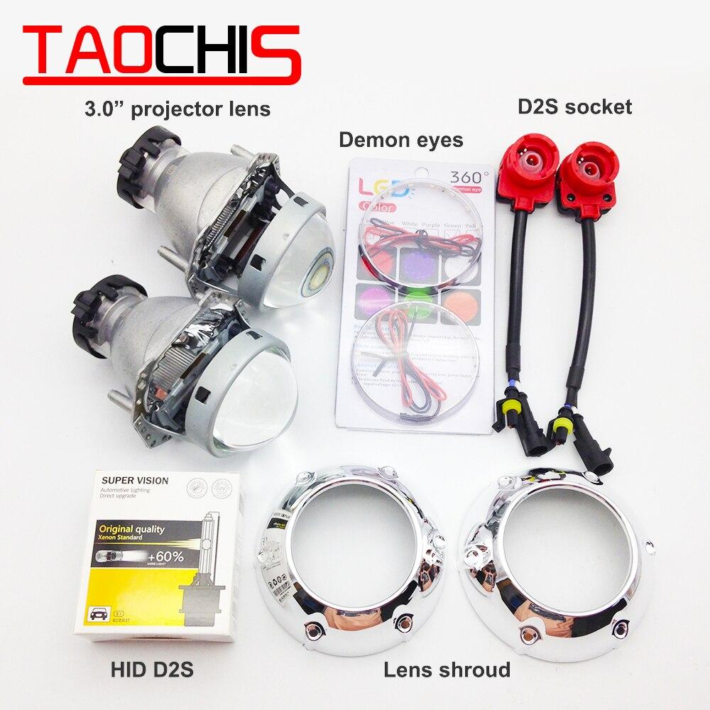 TAOCHIS HID Xenon Hella Projector Lens D2S D1S D3S D4S Shroud Devil Eyes Modify Head Light Lamp Upgrade Fast Bright