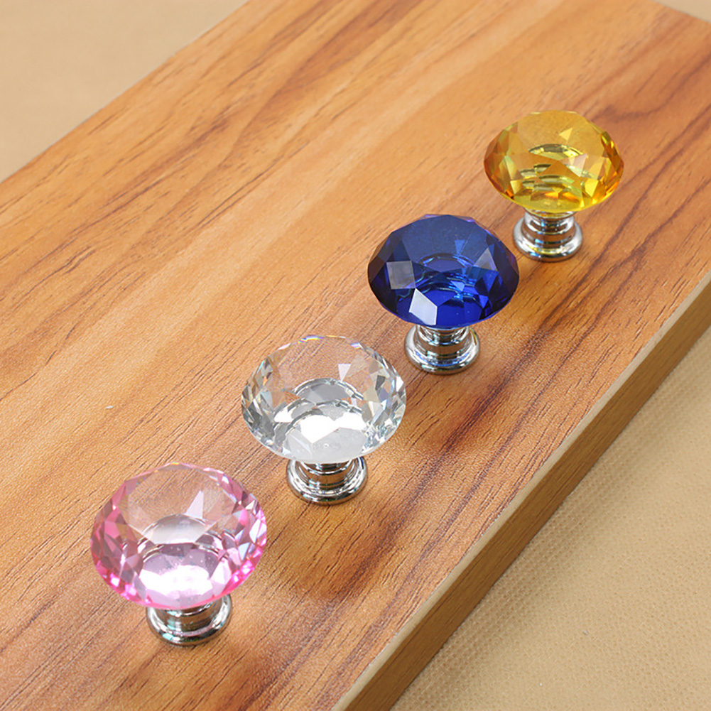 5 шт., 30 Вт, 40 мм с украшением в виде кристаллов Стекло ручки шкаф для кухонных шкафов, выдвижной ящик для шкафа ручки Diamond Форма дизайн с украшением в виде кристаллов Стекло ручки шкафа