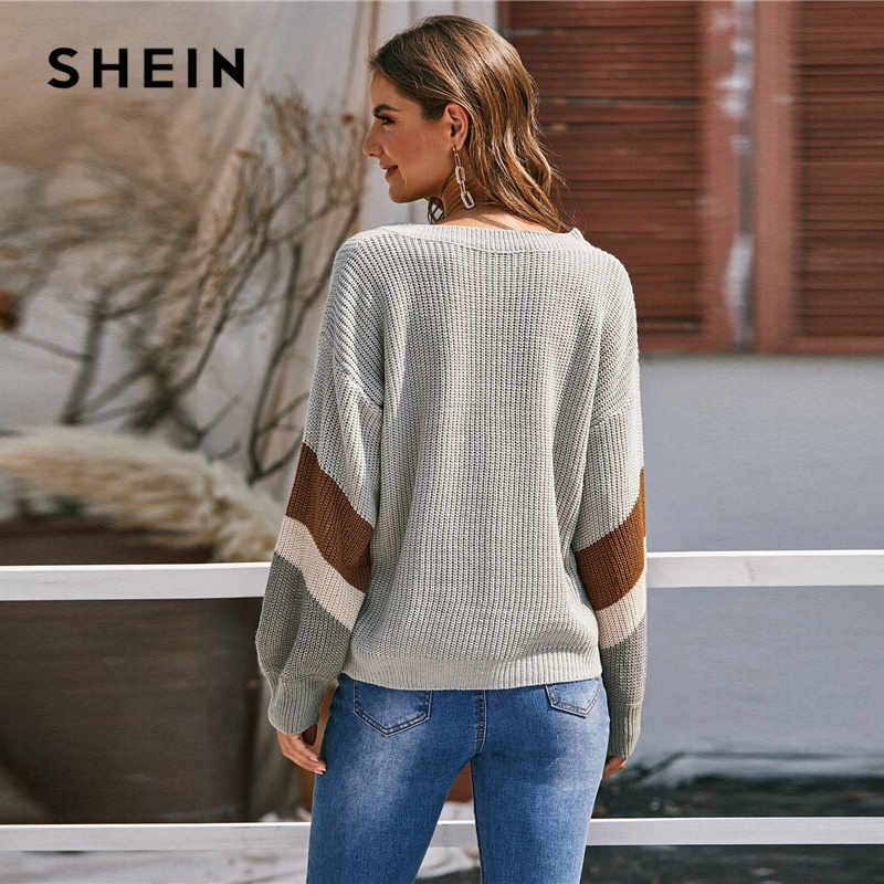 SHEIN V Neck Drop Shoulder Colorblock Casual Sweater Women Tops Autumn Winter Streetwear Long Sleeve Basic Ladies Sweaters 2