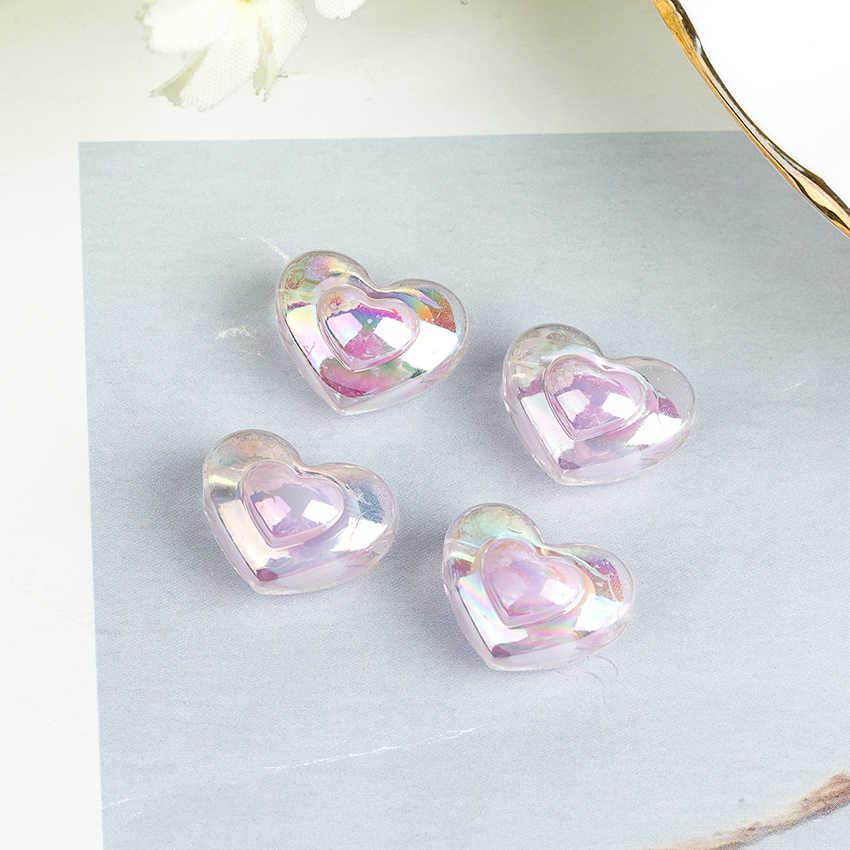 20 pz/lotto Accessori Dei Monili Ornamento FAI DA TE Che Fanno di Plastica Variopinta Del Cuore Star Pendenti E Ciondoli Perle di Moda