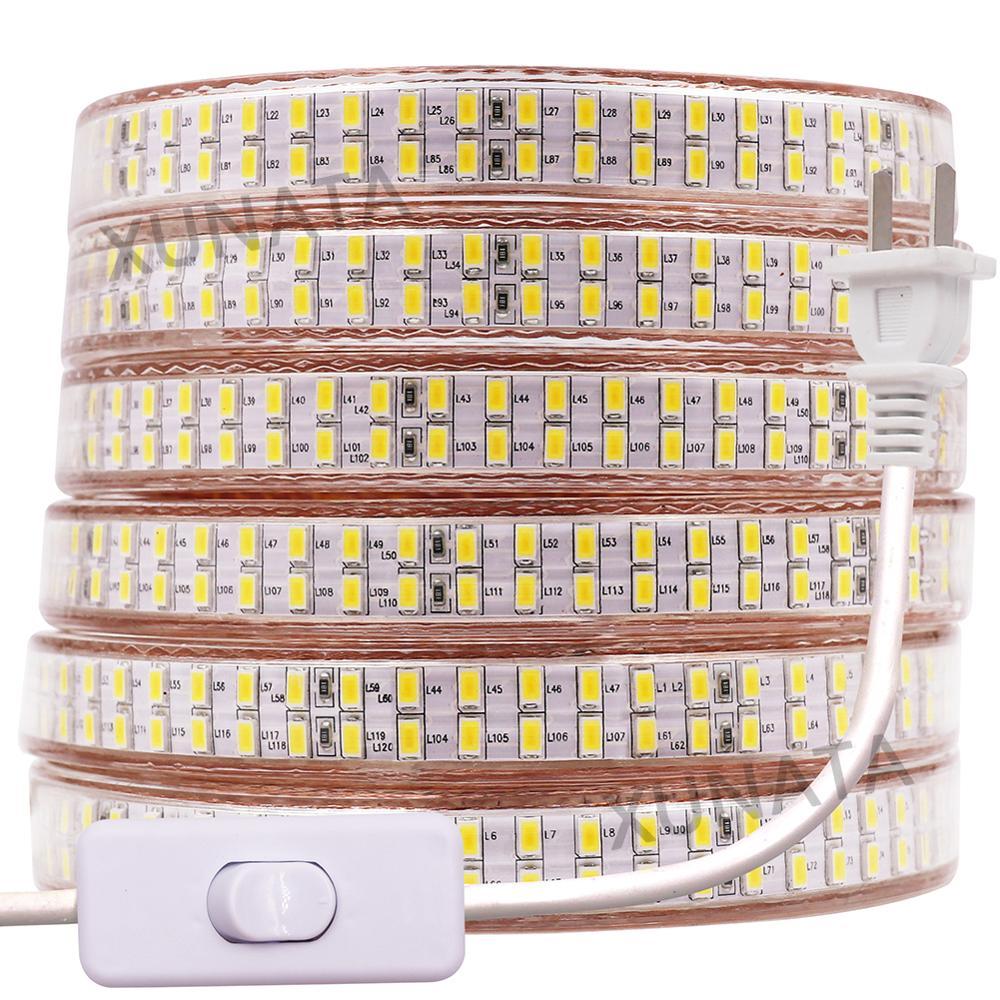 220V 110V 5730 LED Light Strip 240LEDs/M Double Row LED Strip Waterproof Ribbon Tape With EU/US/UK Switch Plug White/ Warm White