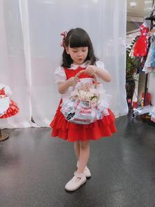 Image 5 - 1 6Y תינוק בנות אדום בציר ספרדית Pompom שמלת שמלת תחרה לוליטה שמלת נסיכת שמלת בנות חג המולד מסיבת יום הולדת שמלה