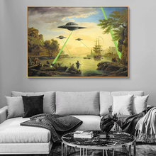 Alien UFO Invasion Graffiti Art Canvas Paintings On The Wall Art Posters And Prints Street Art Pictures Wall Decoration Cuadros kitchen theme wall poster and prints various seasonings canvas art paintings on the wall canvas art pictures cuadros decoration