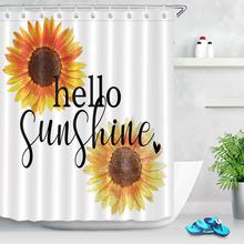 Hello Sunflower Shower Curtain Bathroom Curtain Fabric Waterproof Polyester Yellow Flowers Bathtub Shower Curtain Set with Hooks peacock feather fabric shower curtain with hooks