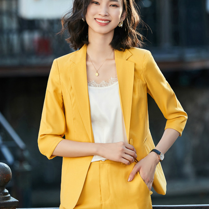 Professional Women's Pants Suit High-quality Office Suit 2020 New Half-sleeved Ladies Jacket Casual Trousers Two-piece Chiffon