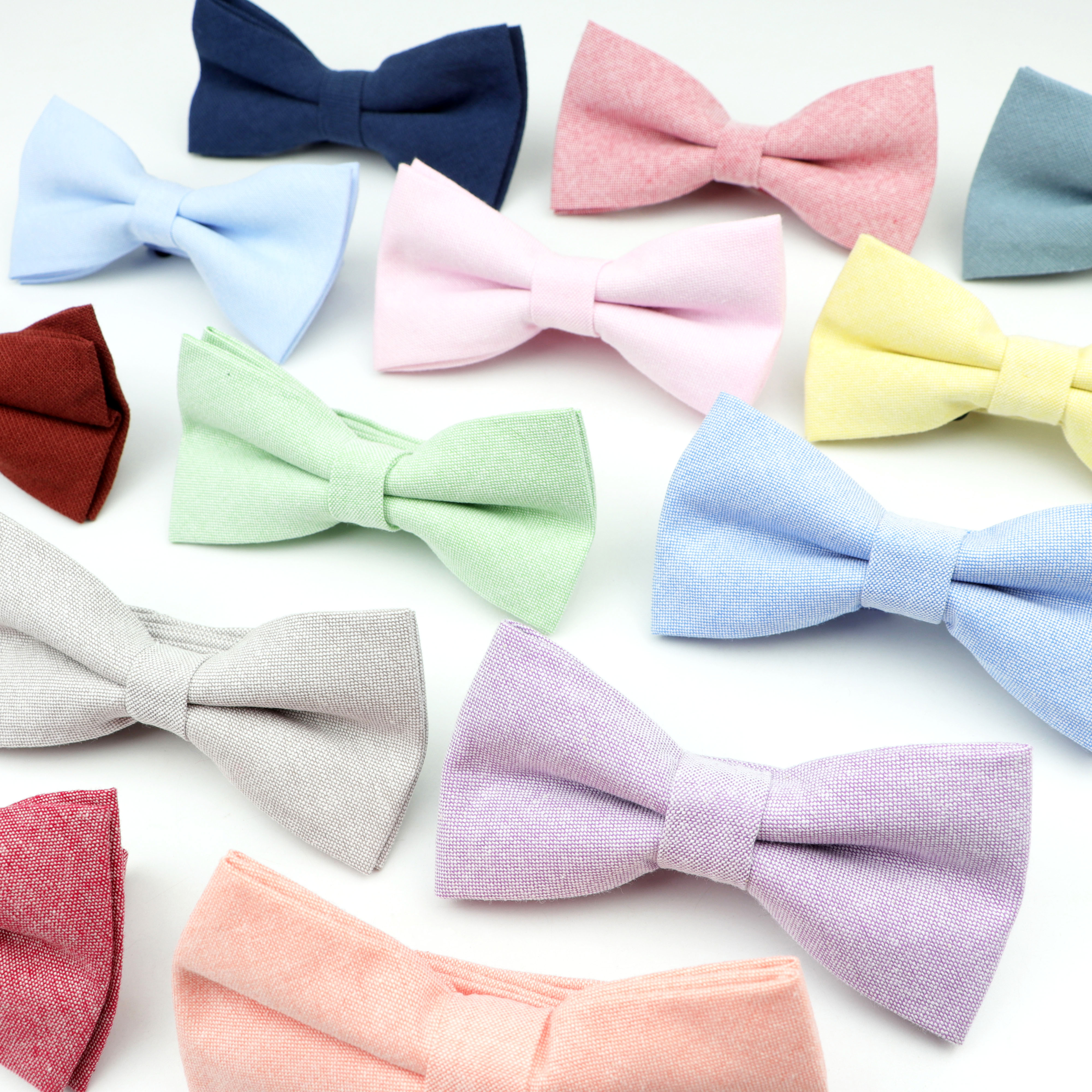 Brand New Lovely Solid Colorful  Men Fashion Casual Bow Tie 100% Cotton Butterfly Cravat  For Party Wedding Accessories Gift