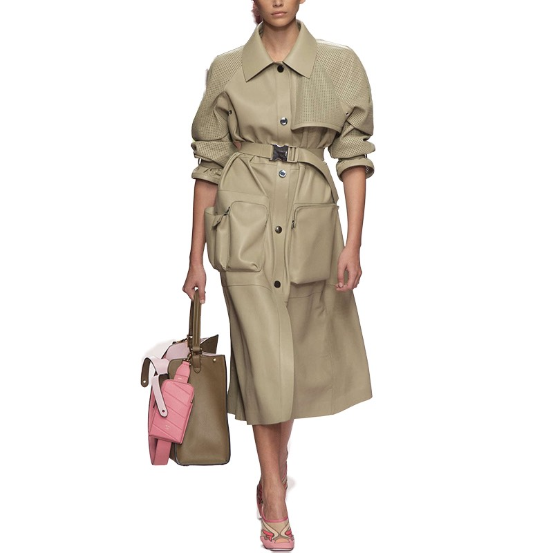 2019 Women Fashion Clothes Pocket Overcoat Loose Trench Gothic Coat Outwear Women Tops Moda Abrigo Ropa De Mujer Vintage Runway