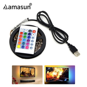 50cm - 5m LED TV Light 2835 SMD RGB LED Strip Light For PC HDTV Backlight Lamp with 3 key IR 24 key RF 17 Key Remote Controller()
