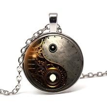 Glamour steampunk yin and yang photo Tai Chi necklace Tibetan silver retro convex round glass pendant chain men women best gift