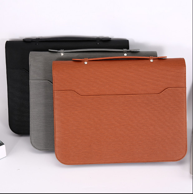 a4 notebook pasta de arquivo pasta com calculadora padfolio pu gerente pasta de couro documento organizador