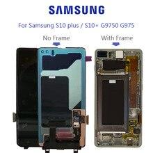 Orijinal süper AMOLED ekran Samsung Galaxy S10 + S10 artı SM-G9750F siyah nokta Lcd ekran dokunmatik ekran Digitizer