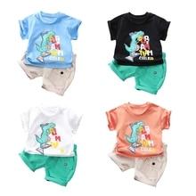 Newborn Kids Baby Boys Summer Clothes Sets Cotton Tops T-shirt Dinosaur Pants Shorts Outfits