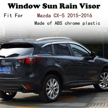 ABS Chrome plastic Window Visor Vent Shades Sun Rain Guard car accessories For Mazda CX-5 2015-2016