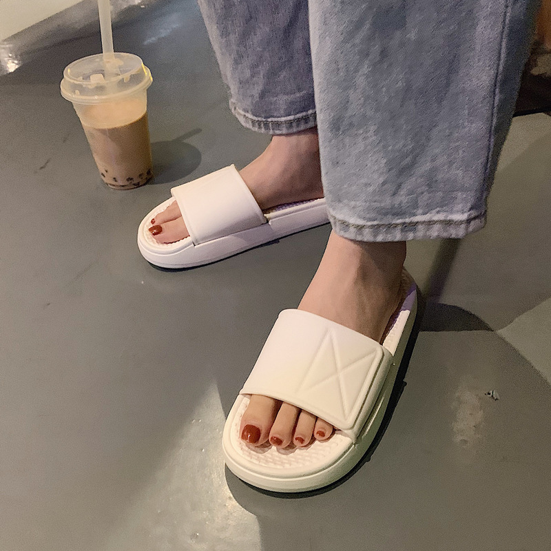 2020 Summer Fashion Solid Chunky Women Slippers Outdoor Casual Beach Holiday Couples Slippers Non-slip Streetwear Concise Shoes