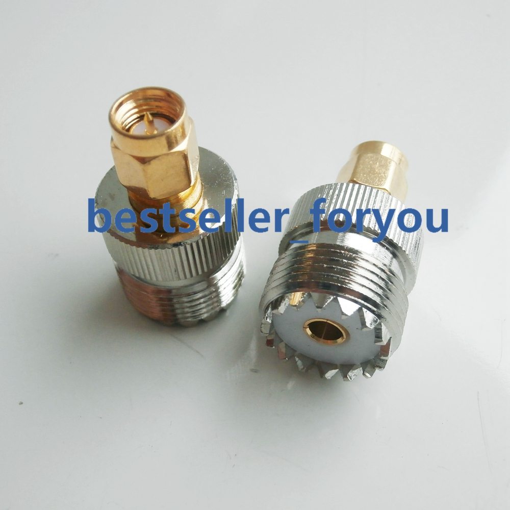 1Pcs SMA Male To UHF Female SO-239 SO 239 Plug RF Adapter Connect PL-259 Golden