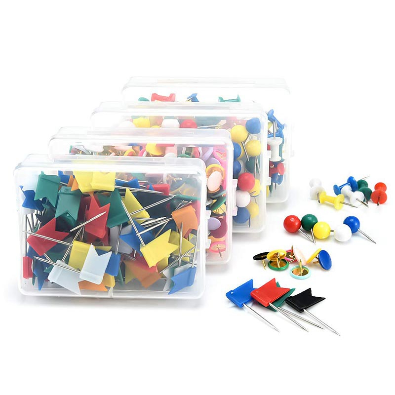 Map Tacks Push Pins With Points For World Map, Cork Notice Board, Assortment 4 Styles Thumb Tacks For Cork Bulletin Board, Pictu