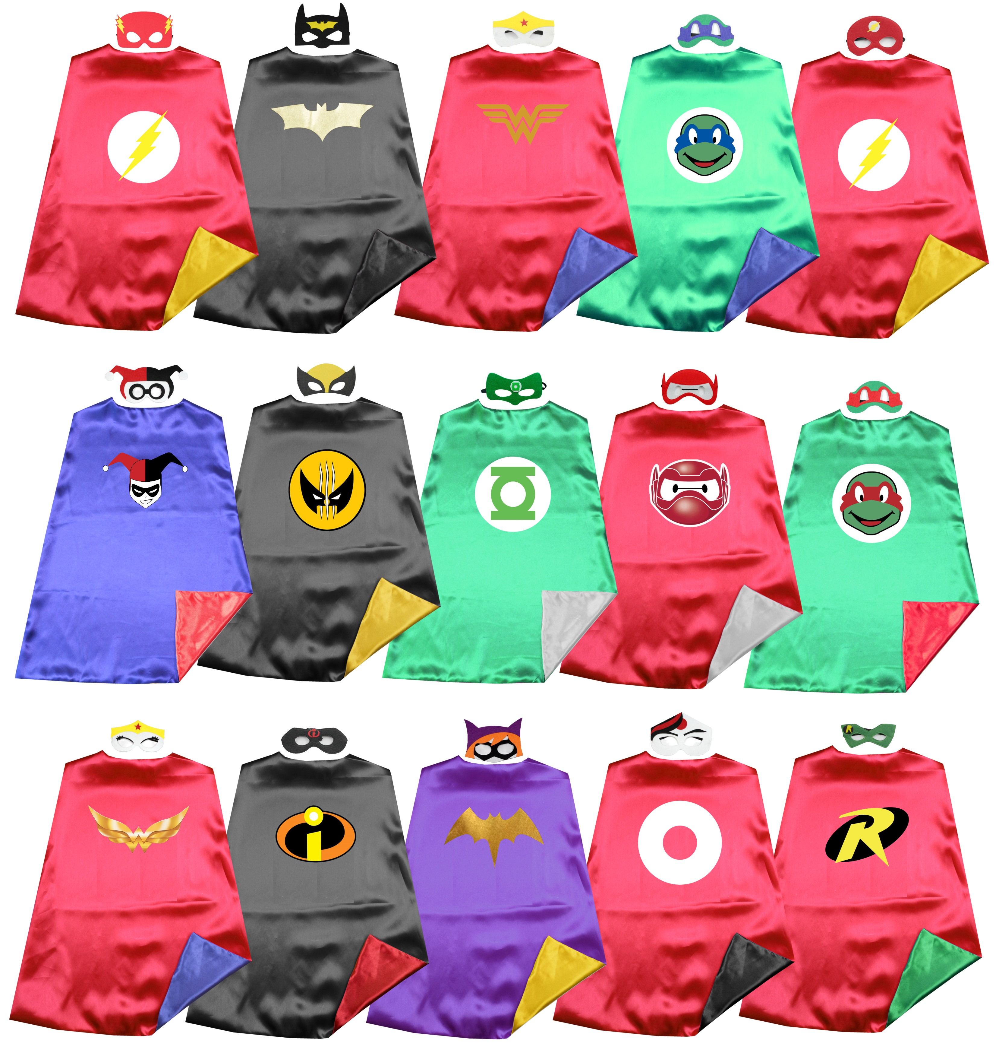 Dress Up Superhero Satin 2layer Justice League Hero Capes +masks  Costume Birthday Party Favor