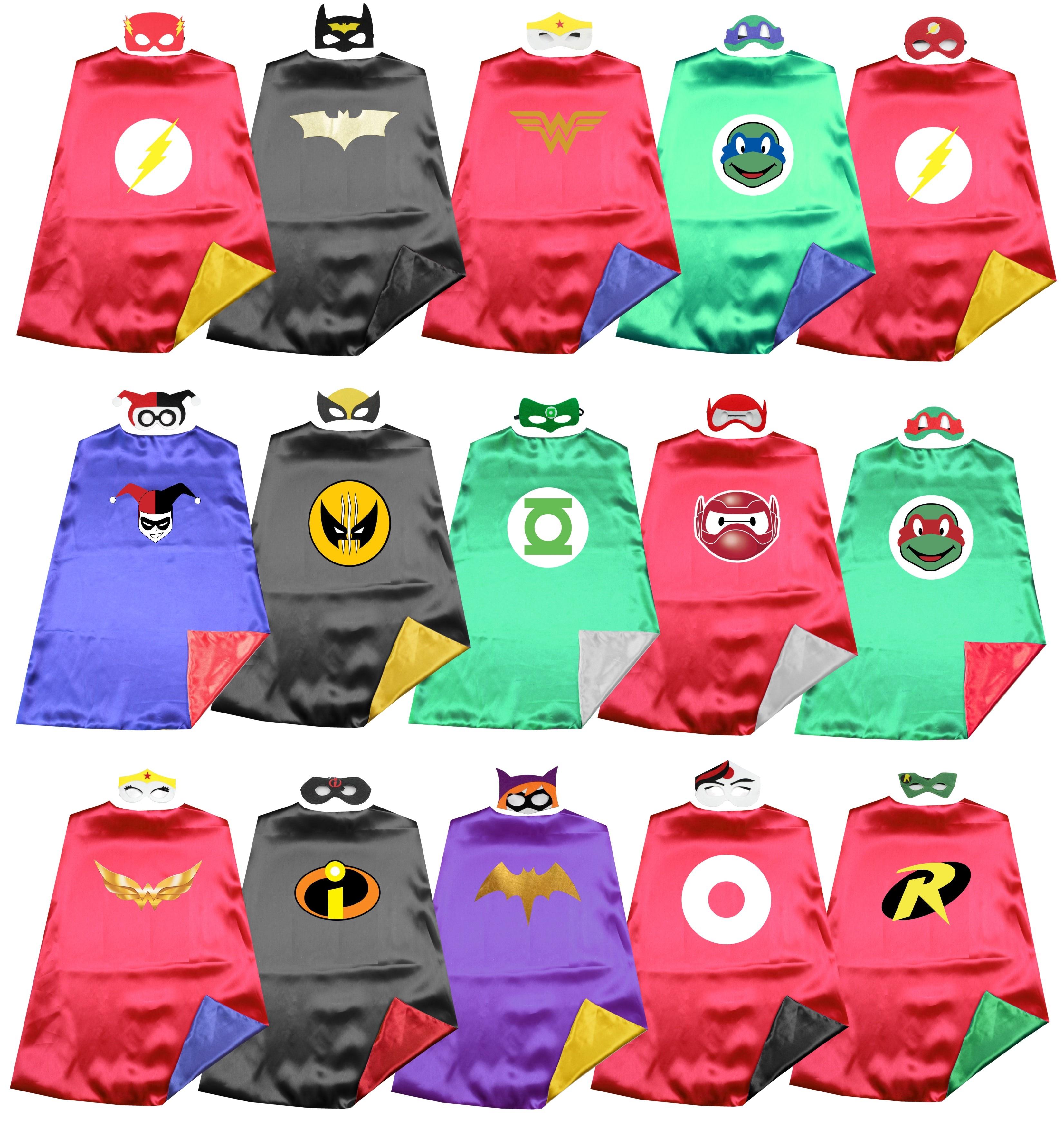 Habiller Super héros Satin 2 couche Justice ligue héros Capes + masques costume fête danniversaire faveur