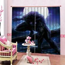 Anime Monster Yuan monkey prints Shower Curtains For Children's room Blackout Curtains luxury stereoscopic Drapes(China)