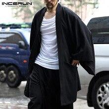 Outerwear Streetwear-Cardigan Kimono Coats Long-Sleeve Men Trench INCERUN Casual Fashion