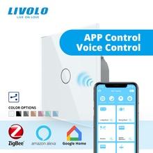 Умный выключатель Livolo ZigBee, Беспроводной Выключатель с Wi Fi, 2 сторонним управлением через приложение, работает с google home,alexa,echo, таймером