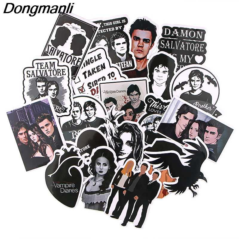 K1264 Dongmanli 20 Pcs/set The Vampire Diaries TV Show DIY Skateboard Graffiti Laptop Badge Motorcycle Luggage Accessories