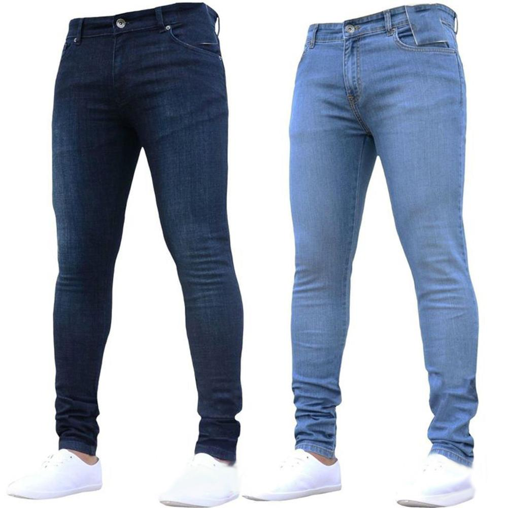 S-3XL Fashion Autumn Winter Men Skinny Jeans S-lim Fit Denim Leggings Long Ripped Stretch Trousers Elastic Waist Blue Pants Hot