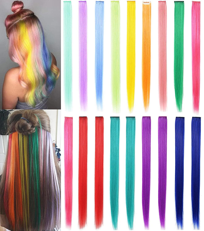 Женские синтетические волосы Leeons, длинные прямые волосы для наращивания на клипсе, фиолетовые, розовые, красные, синие, розовые, цветные