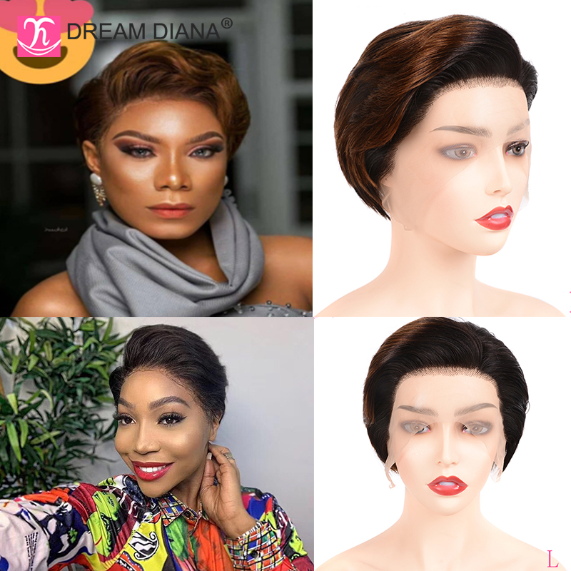 """DreamDiana Ombre Brazilian Wigs Remy 13x4 Lace Front Wig Ombre Lace Wig 8"""" 150 Density 100% Human Hair Front Lace Wig Low Ratio"""