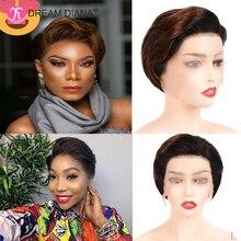 DreamDiana perruque brésilienne pour le Front de cheveux 150 naturels, Remy, 13x4, 8 pouces, densité 100%, faible Ratio