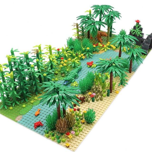 Rainforest Animal Fish Grass Tree zestaw klocków z podstawą City MOC akcesoria części cegły DIY zabawki dla dzieci prezenty